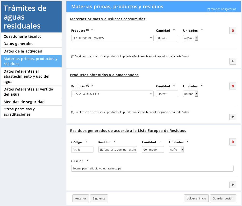 Trámites en línea - Ejemplo de solicitud de permiso de vertido (05/09)